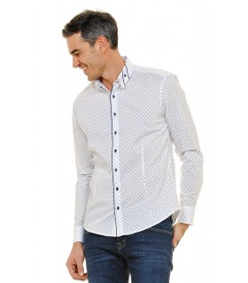 shirt in white with fine check pattern and contrast in dark blue