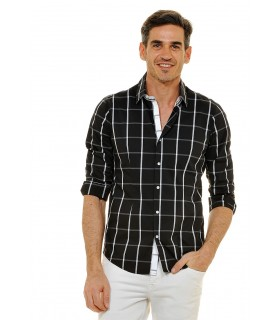 shirt in black with stripes in white