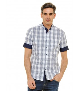 short sleeve shirt with standing collar and check pattern in white and blue