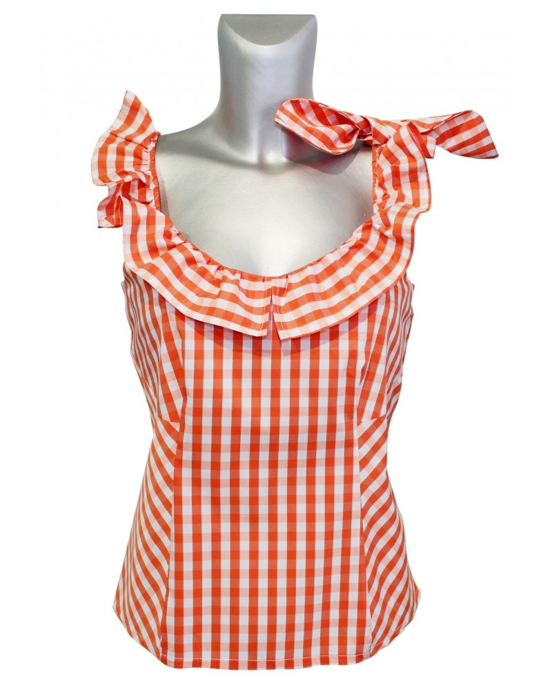 sleeveless check blouse in white/orange with fancy collar (zip cl. on the side)