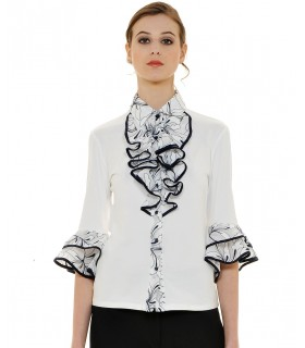 jersey blouse in white with jabot and contrast in dark blue