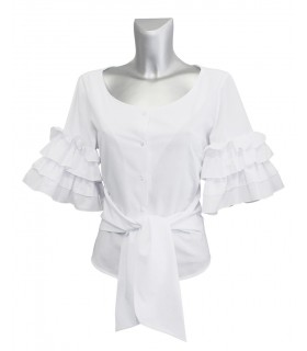 cotton blouse in white with tiered and ruffled three-quarter sleeves (slightly transparent)