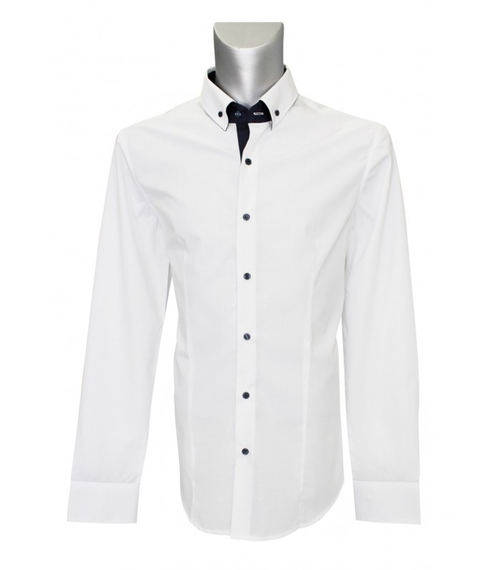 non iron shirt in white with fine pattern