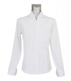 standing collar shirt in white (sleeves, back and the sides in jersey)