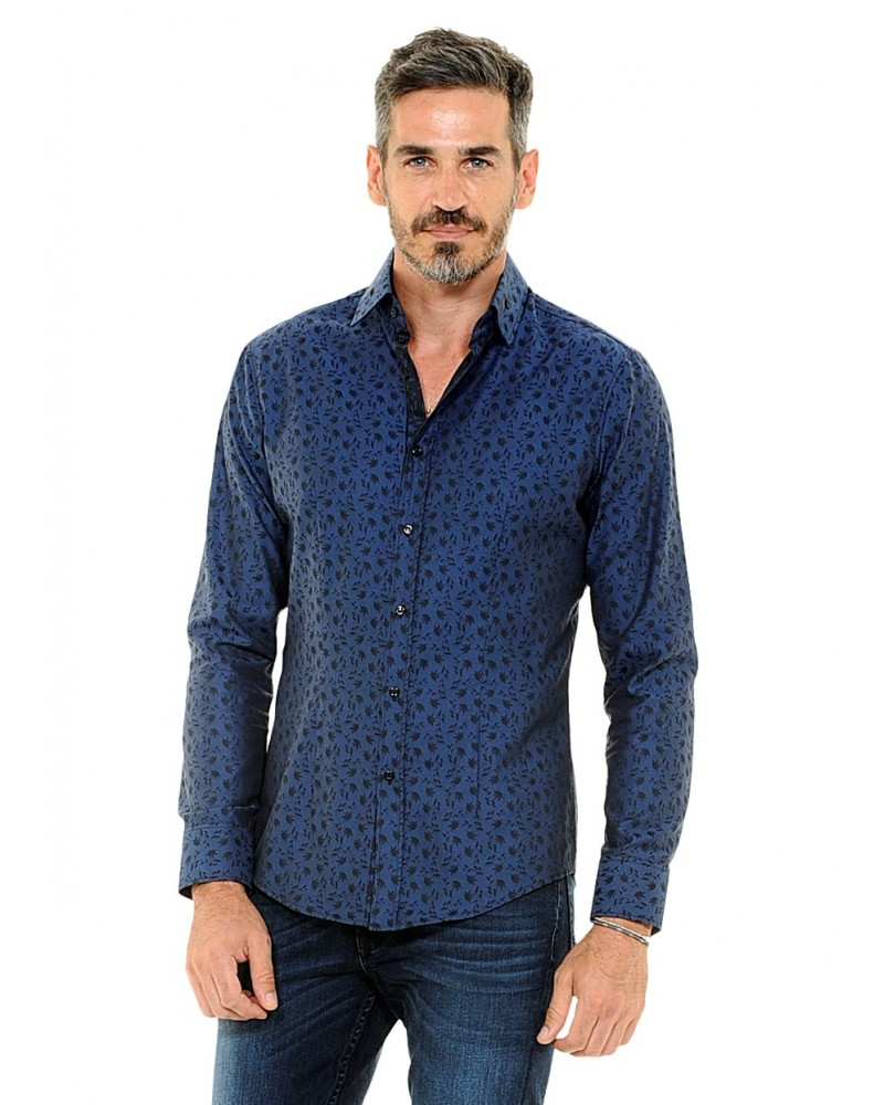 cotton shirt in dark blue with fine flower pattern in black