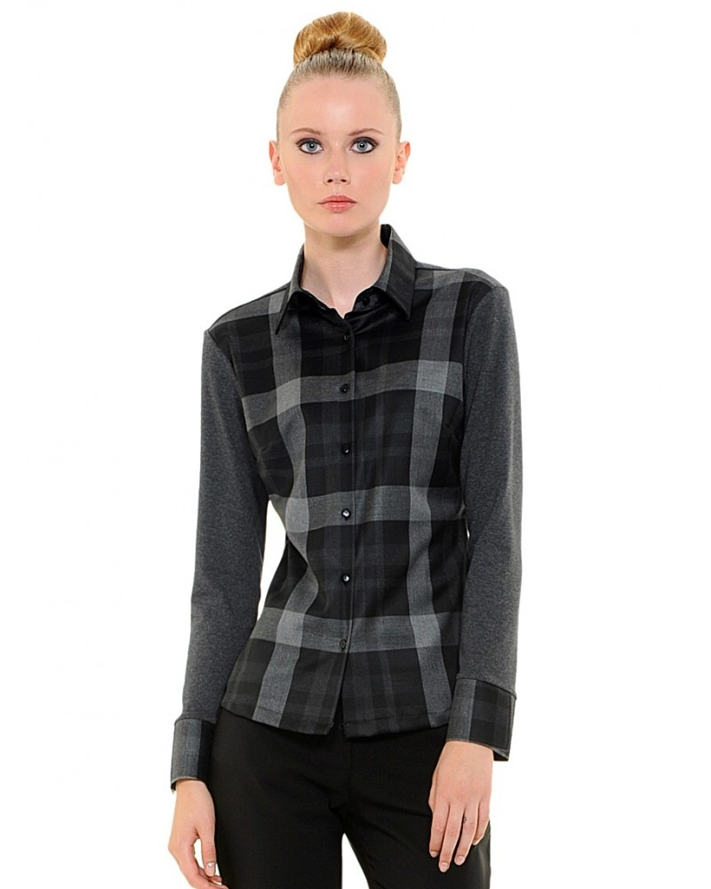 blouse with check pattern in black/gray