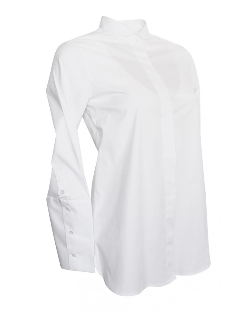 A-line cotton blouse in white with round collar and long cuffs