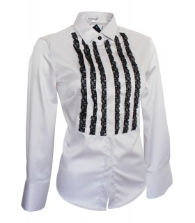 non iron shirt in light gray with applicated lace in black and SWAROVSKI buttons