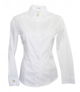 non iron blouse in white with concealed button bar and fine weave pattern