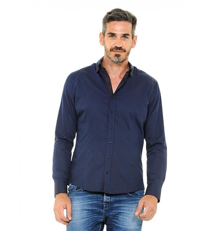cotton shirt in dark blue with double collar, dot pattern and contrast in brown