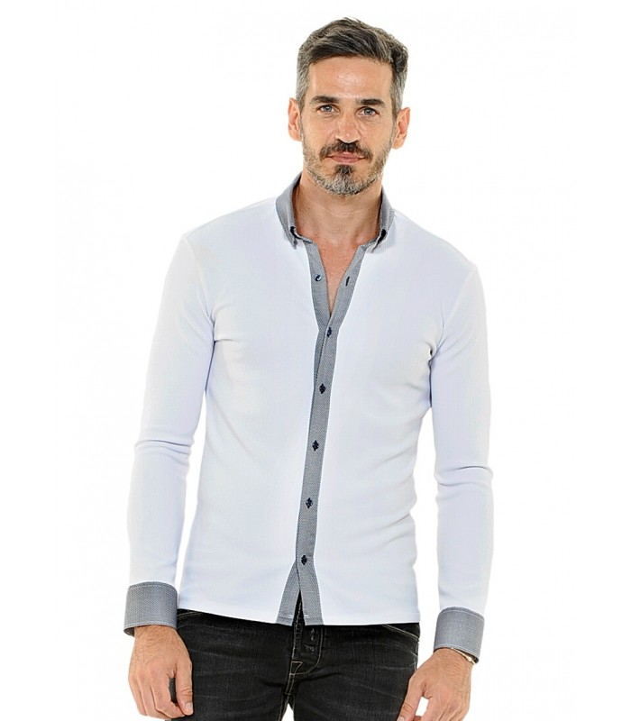 shirt (stretch) in white with contrast in blue
