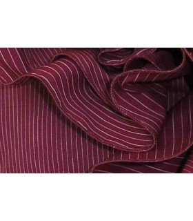 blouse in bordeaux with flounces and fine stripes in white
