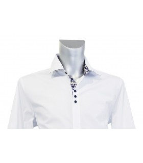 cotton shirt in white with contrast in dark blue