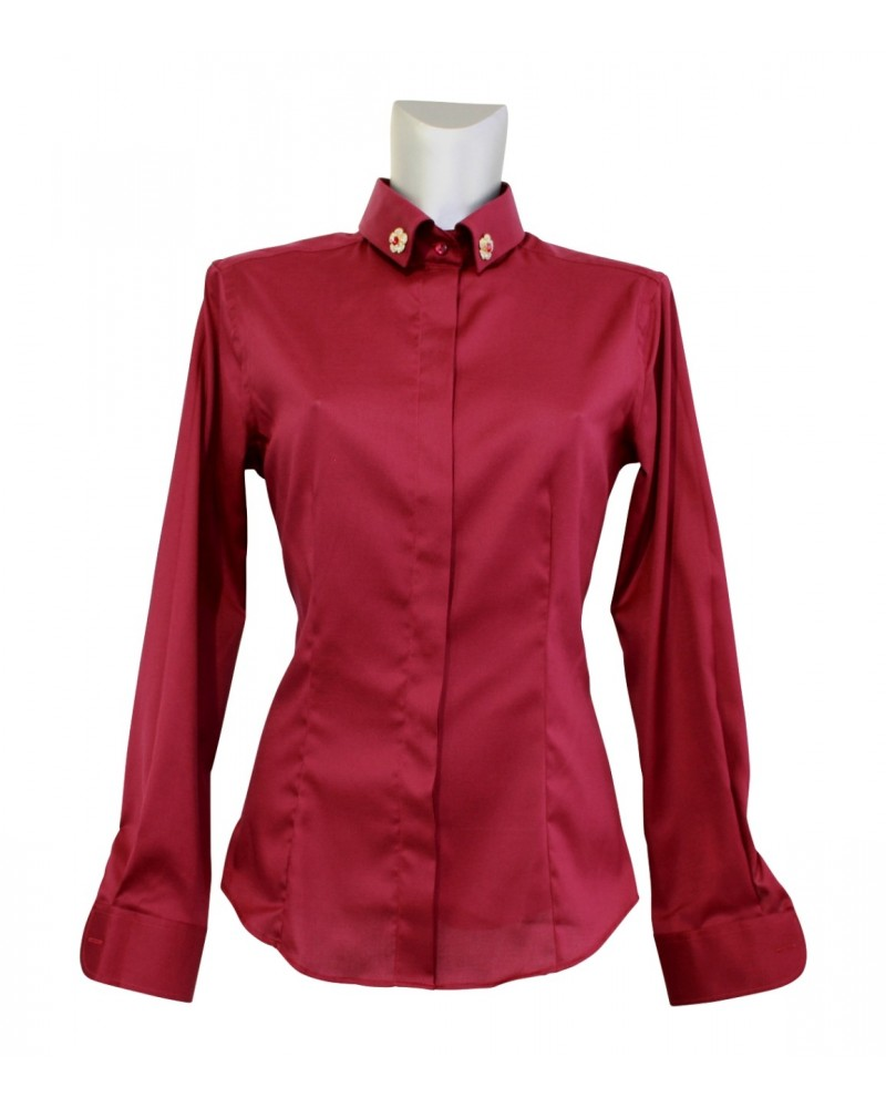 blouse (non iron) in bordeaux with hidden button line and brooches (removable)