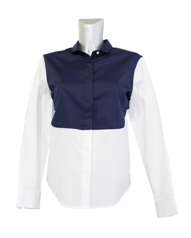 cotton blouse (A-line) in white/black with narrow round collar