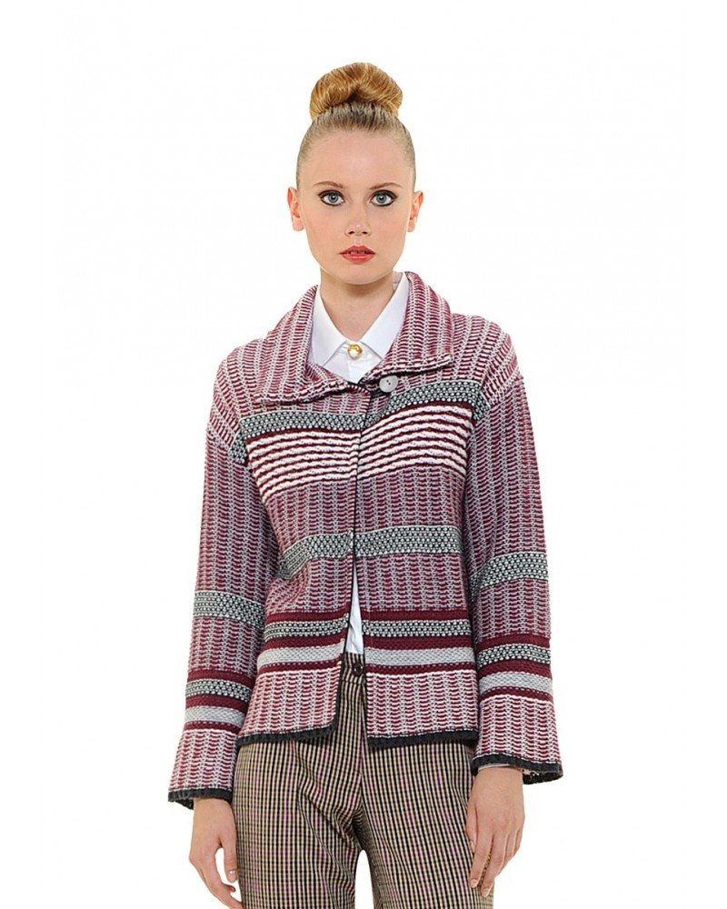 cardigan with pattern in bordeaux (without blouse)