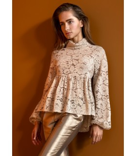 A-line blouse (lace) in beige (transparent)