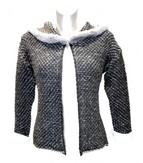 cardigan in dark gray with pattern and hood (without blouse)