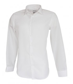 business shirt in white (swisscotton quality) with fine weave pattern