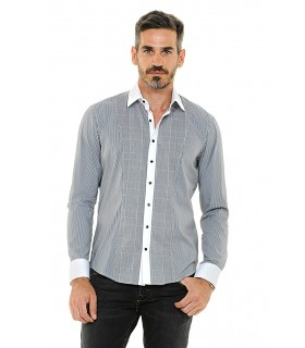 shirt with fine pattern in black/white