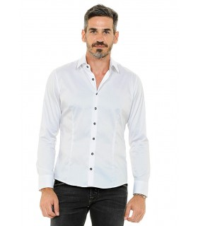 non iron shirt in white with SWAROVSKI buttons