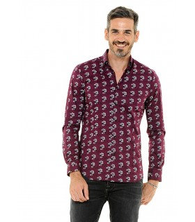 cotton shirt in blue with flower pattern
