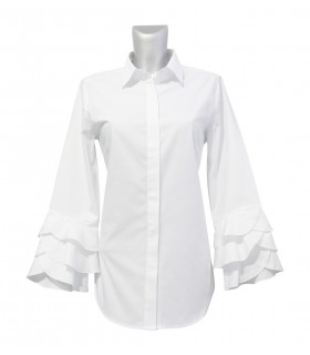 cotton shirt (A-lIne) in white with hidden button line