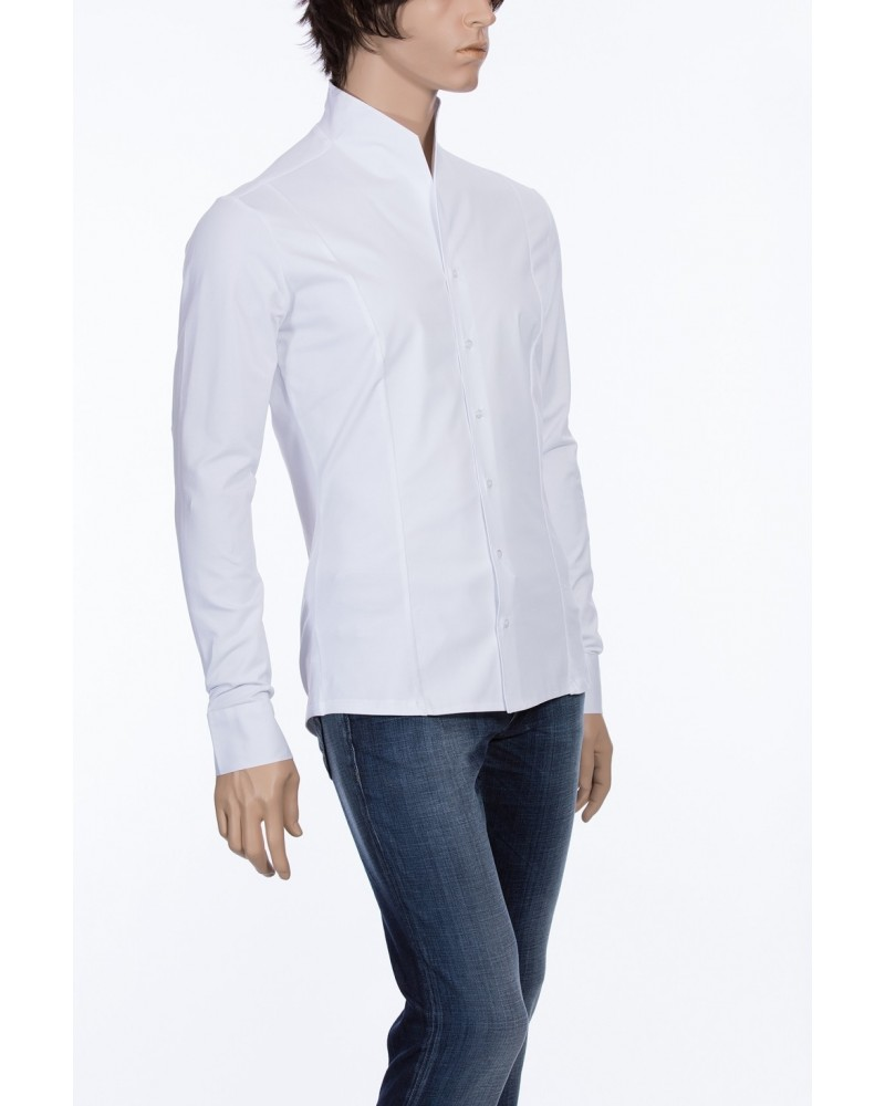 BACK IN STOCK: standing collar shirt in white (sleeves, back and the sides in jersey)