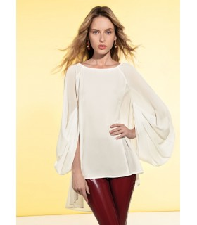 wide-cut blouse in light beige (slightly transparent) with fancy sleeves