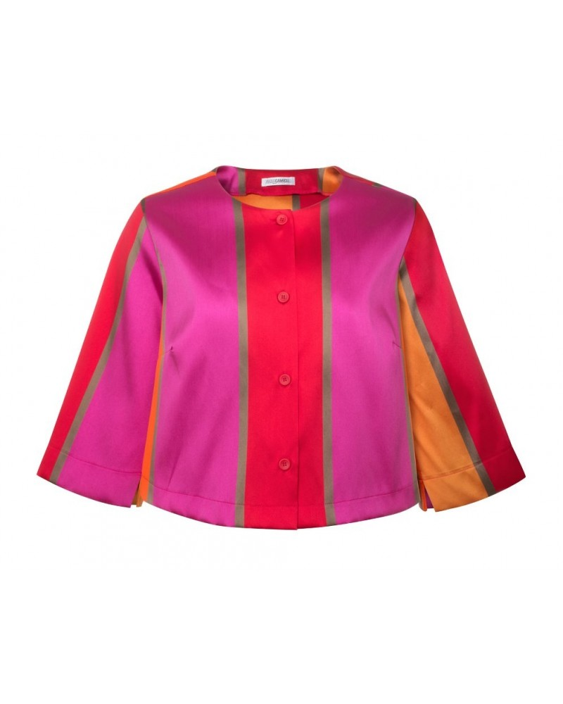 short cut u. wide-necked 3/4-sleeve blouse (A-line) with colors orange, red, gold, purple