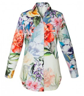 colorful 3/4-sleeve blouse (PICTURE WITH LONG SLEEVE) with printed flower pattern