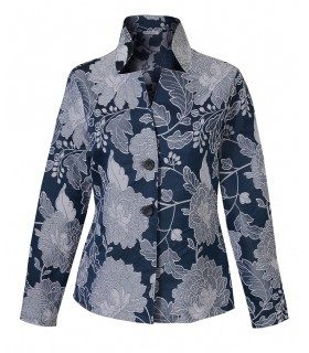 wide-cut standing collar blouse (A-Line) in dark blue with embroidery