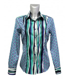 cotton blouse with fancy print pattern in turquoise,white,blue