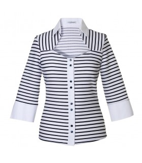 3/4-sleeve stretch blouse with stripes in schwarz