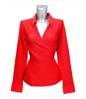 stretch blouse in red (slightly transparent) with tucks and standing collar