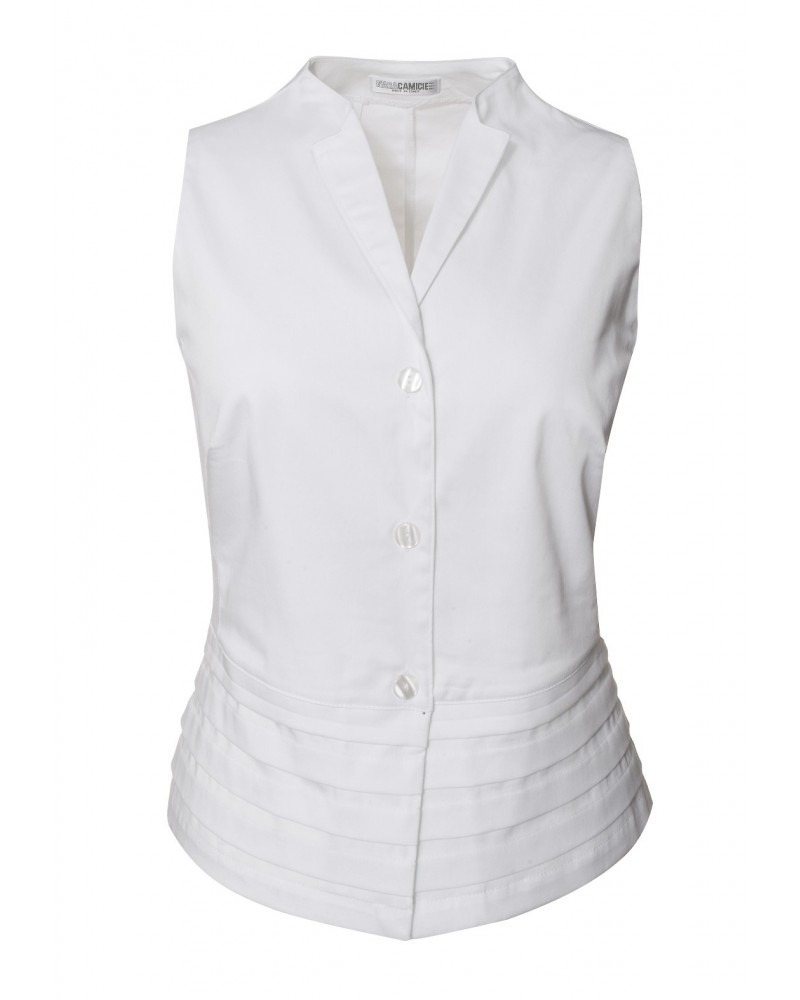 Sleeveless blouse in white with pleated peplum