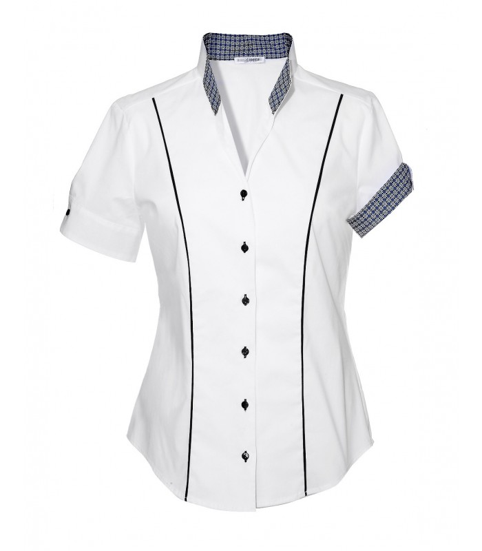Slim-fit cotton blouse in white with stand-up collar and contrast/pattern in dark blue