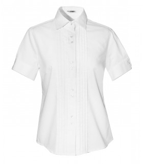 white short-sleeved cotton blouse with pleated plastron
