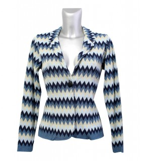 Cardigan with zigzag pattern in blue / beige (without blouse)