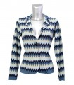 Cardigan with zigzag pattern in blue / beige