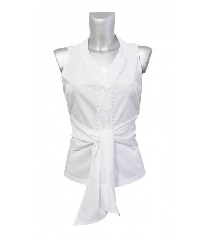 Sleeveless wrap blouse in white with lace decoration