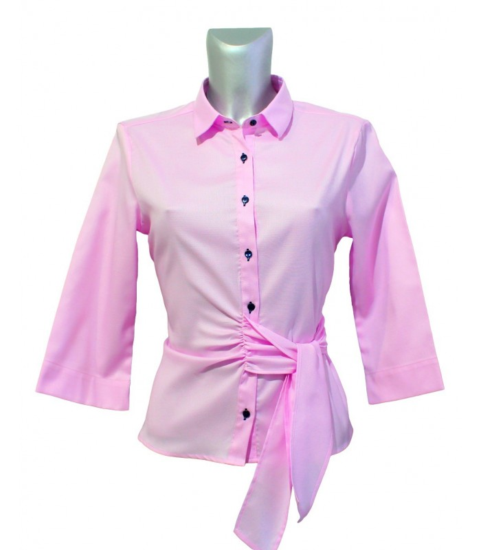 non iron shirt in pink with fine weave pattern, 3/4-sleeve and loop band at the side