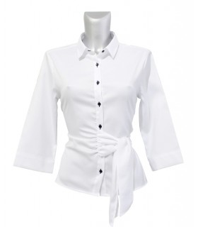 non iron shirt in white with fine weave pattern, 3/4-sleeve and loop band at the side