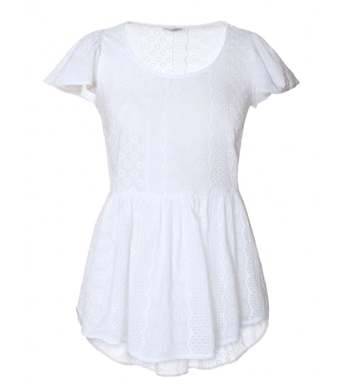 transparent white short-sleeved cotton eyelet lace blouse with gored peplum