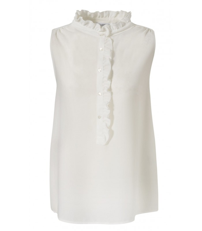 Light fabric blouse in light beige with ruffled collar and plastron