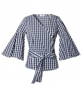 cotton wrap blouse with check print in white/blue and 3/4-sleeve