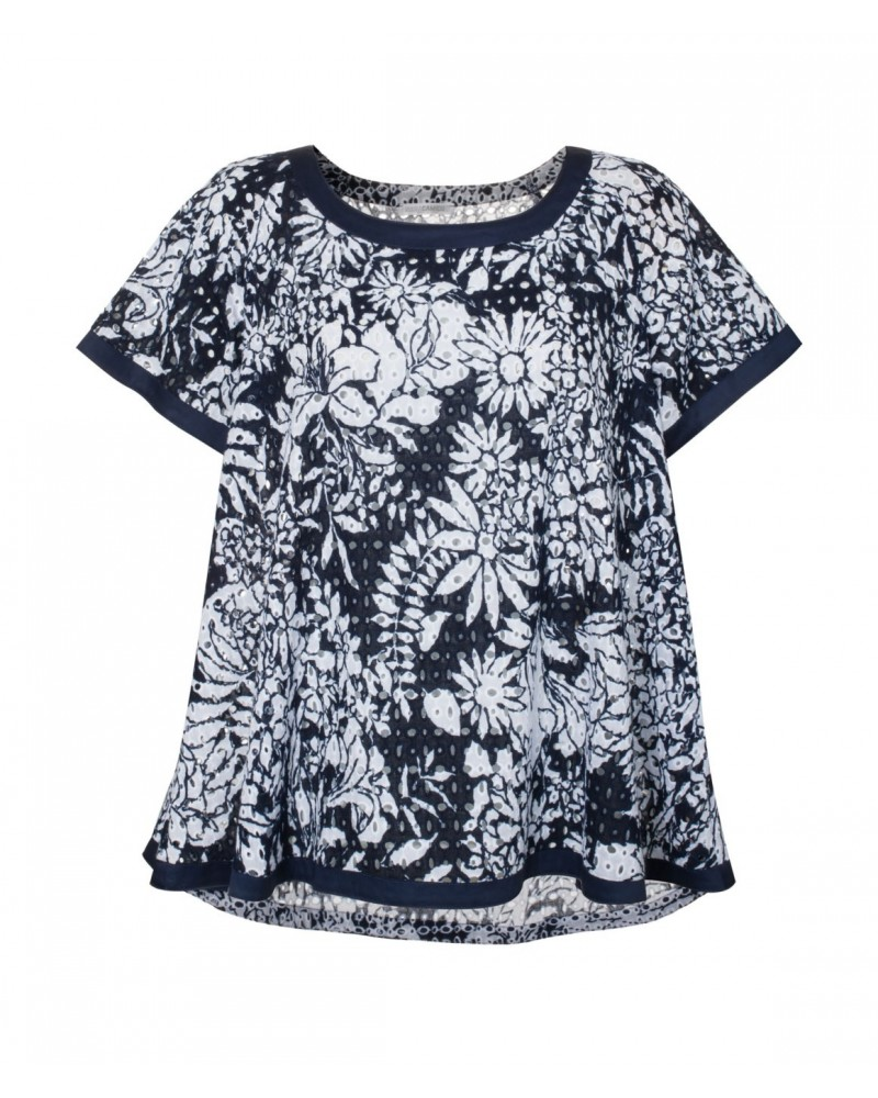 Flowing printed cotton eyelet A-line blouse in dark blue/white with hole pattern