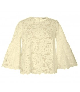 Loose-fitting light beige tonal lace blouse with 3/4-sleeve