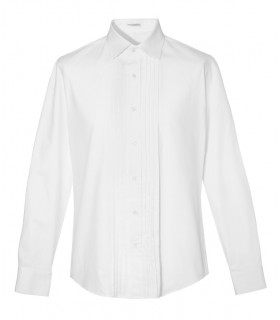 white cotton shirt with Italian collar and relief pattern on the plastron