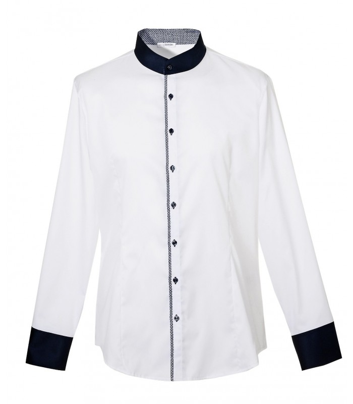 non iron band collar shirt in white with contrast in dark blue